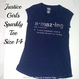 Justice Amazing Blue Sparkly Girls Tee Size 14 GUC